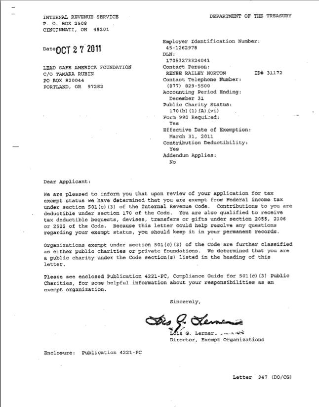 501c3 Approval Letter