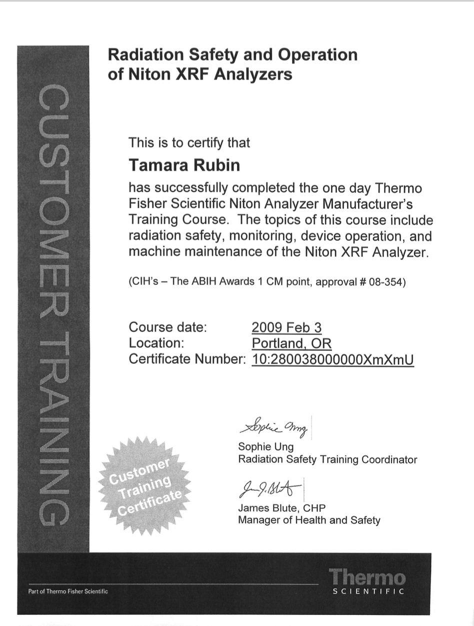 Tamaras xrf certificate tamara rubin click on the image below to see the full two pages including the certificate and the accompanying letter i received this certificate following my february 1betcityfo Choice Image