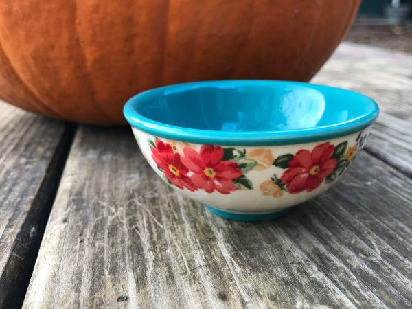 Pioneer Woman Vintage Floral Teal Dipping Bowl As High